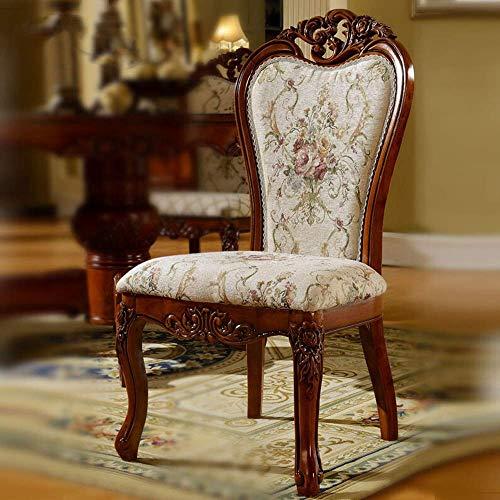 L-WSWS Comedor de madera maciza Europea Silla Silla de comedor Silla de comedor Silla de café Tela suave del respaldo Fácil de montar 2 Piezas for las sillas de la cocina del hogar (Color: Blanco, Tam