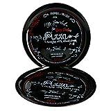 MamboCat 2er Set Pizzateller Nero in schwarz I Ø 32cm - groß I Teller mit Aufschrift in Rot und...