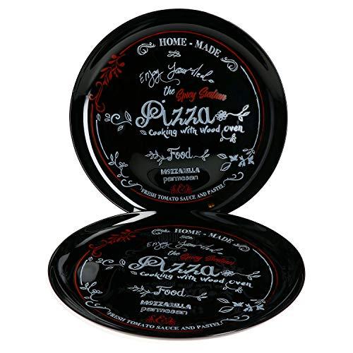 MamboCat 2er Set Pizzateller Nero in schwarz I Ø 32cm - groß I Teller mit Aufschrift in Rot und Weiß I für Pizzen oder zum Anrichten