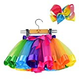 BGFKS Layered Ballet Tulle Rainbow Tutu Skirt for Little Girls Dress Up with Colorful Hair Bows(Rainbow,2-4T)