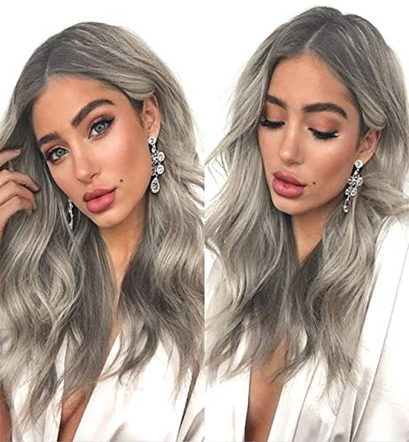 VEBONNY Ombre Dark Rooted Silber Ashy Blonde Lace Front Perücken für Frauen Mixed Blonde Hair Loose Wavy Synthetic Perücke mit dunklen Wurzeln 18 Zoll VEBONNY-032