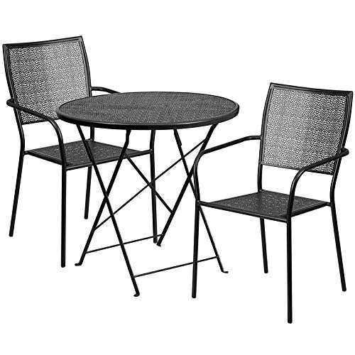 LIVING TRENDS 30'' Round Black Indoor-Outdoor Steel Folding Patio Table Set with 2 Square Back Chairs