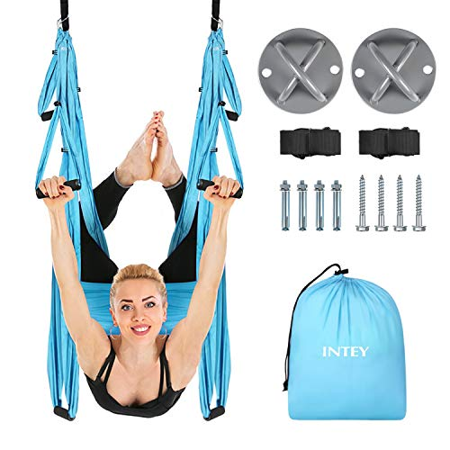 INTEY Aerial Yoga Flying Yoga Swing Yoga Hammock Trapeze Sling Inversion Tool for Gym Home Fitness (with Ceiling Anchors)