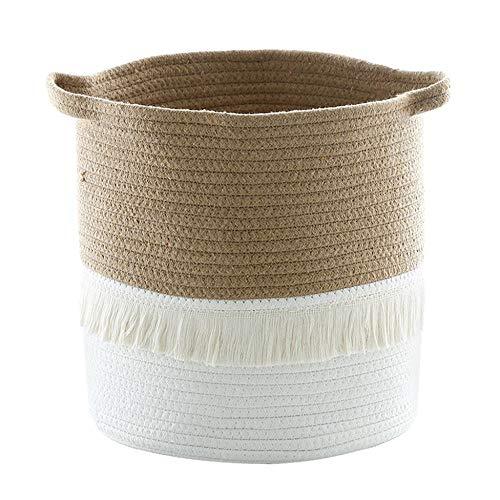 Cotton Rope Knitted Pompom Decor Laundry Basket Toy Storage Bucket Photo Prop Toy Basket Bucket Orga