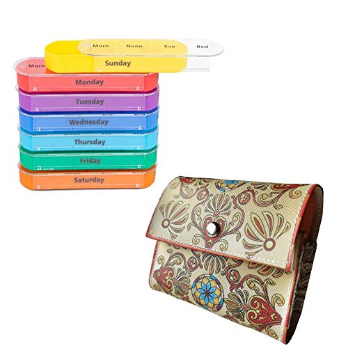 Pill Storage Case Weekly Travel Pill Organizer with PU Leather Case for Medicines Supplements, Vitamins