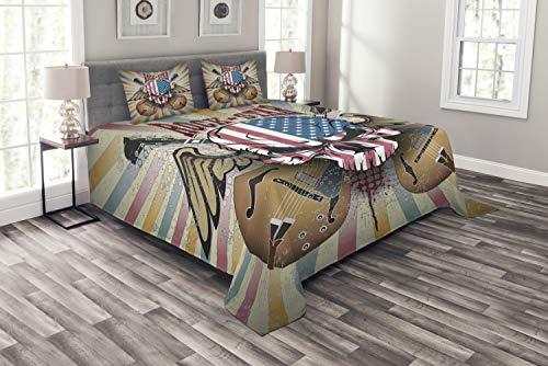 ABAKUHAUS Gitarre Tagesdecke Set, Verärgerte Schädel Amerika-Flagge, Set mit Kissenbezügen Kein verblassen, für Doppelbetten 220 x 220 cm, Mehrfarbig