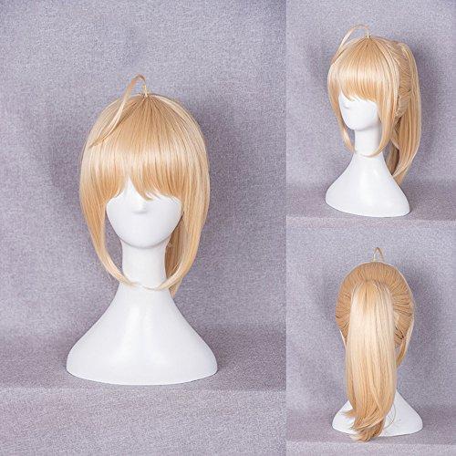 FuHouse Mädchen Blonde Gelbe Halloween Cosplay Anime Perücke Kurze Perücke mit Pferdeschwanz (020H)