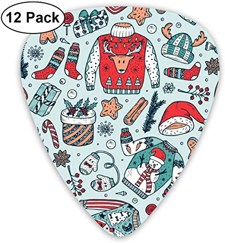 Guitar Picks Ugly Christmas Sweater Party Custom ABS Guitar Plectrums For Bass, Electric & Acoustic Guitars-12 Pack