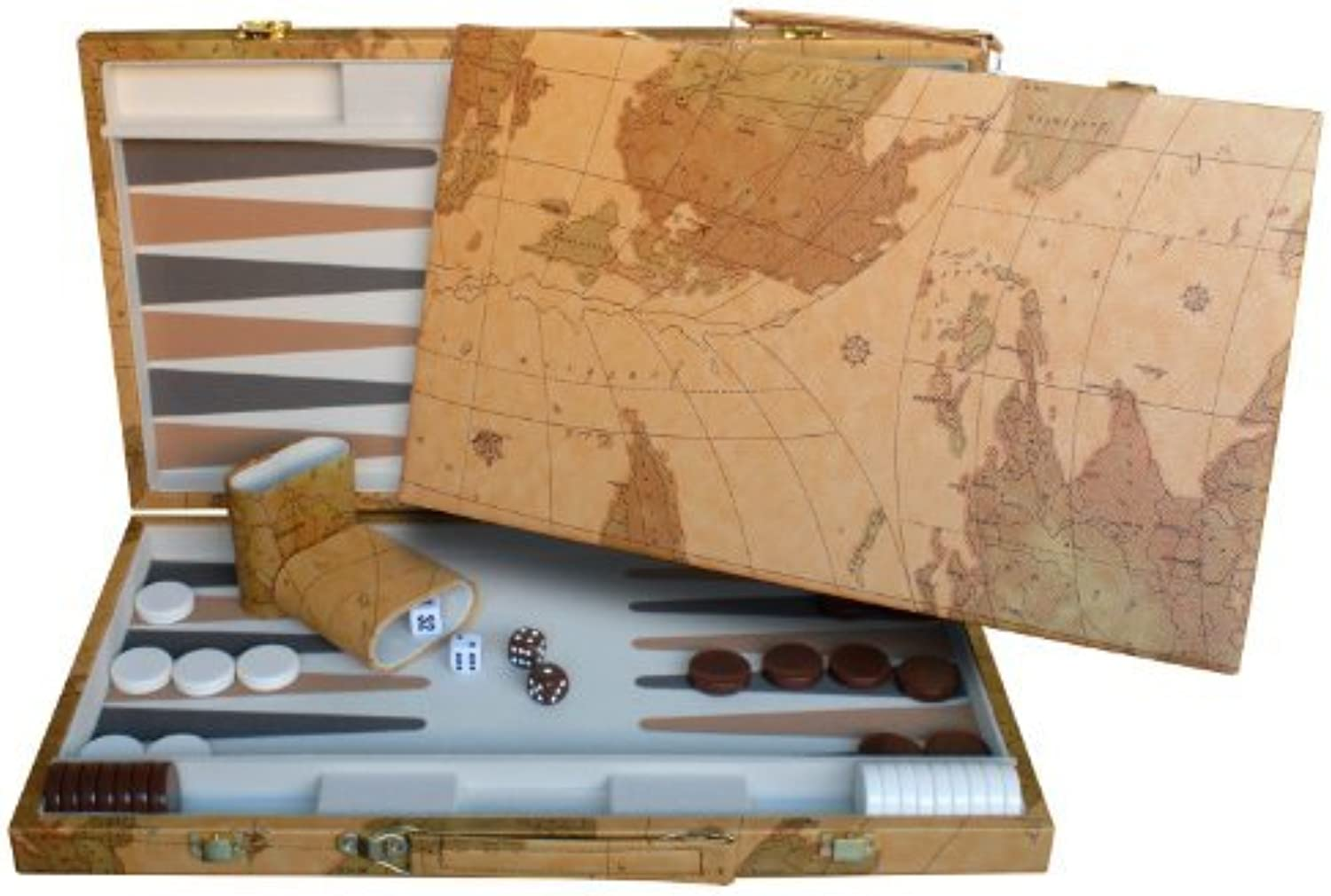 WE Games Map Design Backgammon Set - 18 Inch with Screen Printed Points by WE Games