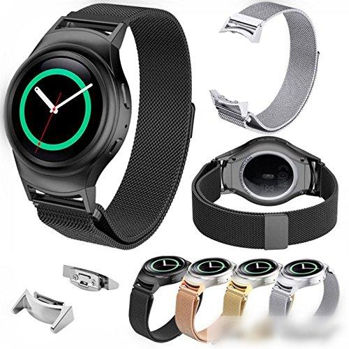 MYQyiyi myqyiyi Milanese Edelstahl-Armband-Uhr Inteligent + Anschluss für Samsung Gear S2rm-720