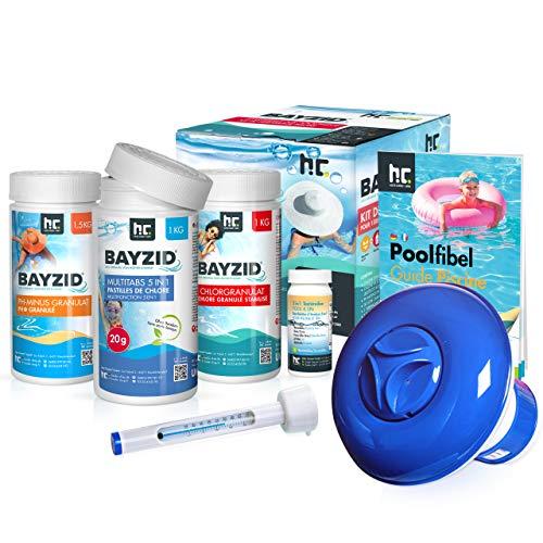 Höfer Chemie Pool Starterset 7 TLG Wasserpflege durch Pool Chlor Granulat, PH Minus und Multitabs