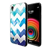 FINCIBO Case Compatible with LG X Power LS755 US610 K450 K210 K6 K6P K220, Flexible TPU Black Soft Gel Skin Protector Cover Case for LG X Power LS755 (NOT FIT LG X Style) - Blue Watercolor Chevron