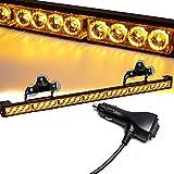 SmallfatW 32 Inch 28 LED Strobe Light Bar Car Truck Hazard Emergency Warning Windshield Flash Light Bar with Cigar Lighter and Suction Cups (Amber)