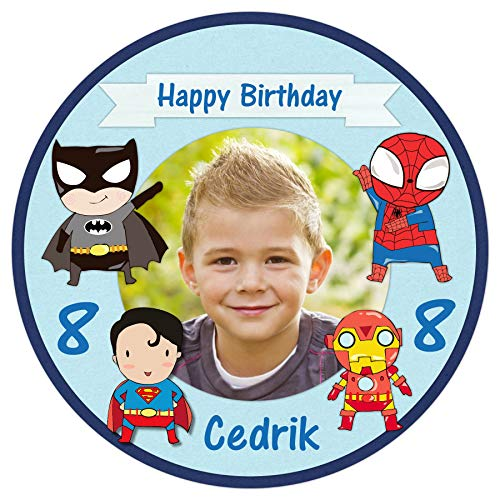 Tortenaufleger Tortenbild Geburtstag Jungen blau Kindergeburtstag Superhelden mit eigenem Foto und Wunschtext sofort frei gestalten/ 20 cm Ø TA2049
