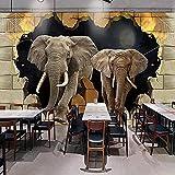 Fotomurales Foto 3D Elefante Decoración De Pared Rota Habitación De Niños Creativa Dormitorio Restaurante Sala De Estar Mural Papel Tapiz Seda 350X256Cm