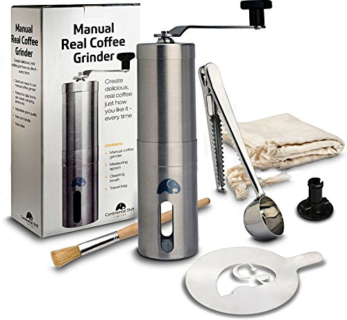 British Designed Manual Coffee Grinder for Travel, Camping & Home. Bag, Clip, Measuring Scoop. Brushed Stainless Steel, Ceramic Blade, Conical Burr Mini Mill, Stencil. ONLY 2 LEFT (3/19/2019)