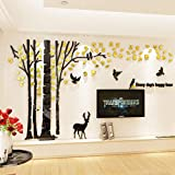Unitendo Acrylic 3D Tree Wall Stickers Large Wall Decal Easy to Install &Apply DIY Decor Sticker Home Art Decor, Forest and Deer with Gold Leaves.