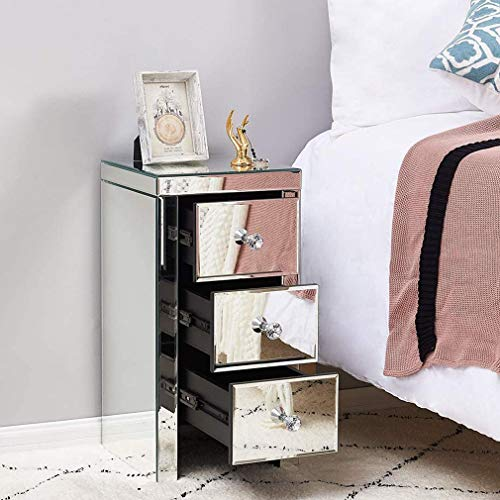 MathRose 3 Drawer Mirrored Bedside Side Table Cabinet Modern,Crystal Handles Bedroom Furniture,Bedroom Nightstand Bedside Crystal Model Decoration for Bedroom-H60cm x W30cm x D30cm