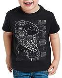 style3 Mega 16-bit Controlador Fotocalco Azul Camiseta para Niños T-Shirt videoconsola Sonic, Color:Negro, Talla:152