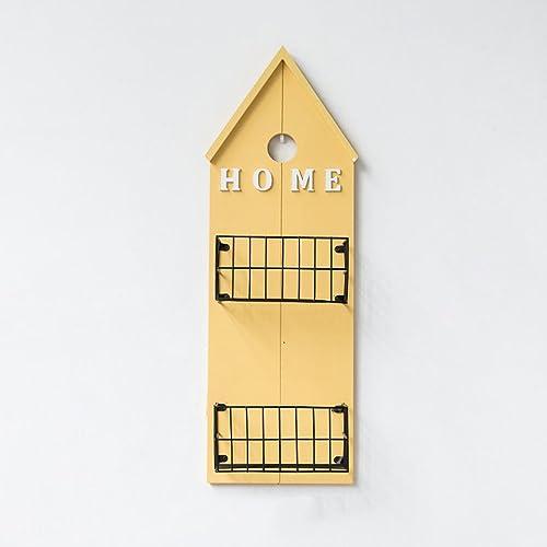 Bücherregal CHUANLAN American Style Holz Eisen Halterung Wohnzimmer Schlafzimmer Studie Regale dekorative Rahmen an der Wand montiert (Farbe   Gelb 24  60cm)
