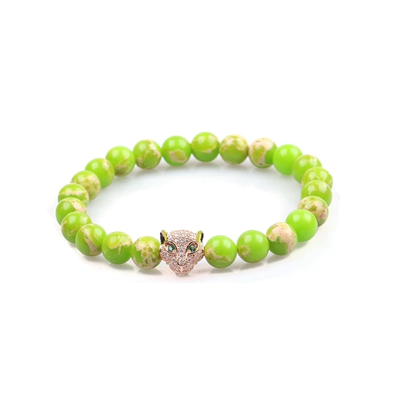 Semi-Precious Stone Beads Stretchy Elastic Bracelet with Jeweled Leopard Head Charm, 8mm, Unisex, for Friendship, Couples