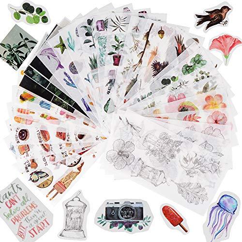 FLOFIA 30 Hojas Pegatinas Scrapbooking Flores Plantas Animales Stickers Bullet Journal para DIY Manualidades Decoración Diario Agenda Álbumes de Recortes Calendarios Tarjetas de Felicitación Regalos