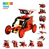 Love&Mini Solar Robot STEM Toy Educational Building DIY 12 in 1 Science Experiment Gift for Kids Age 8+ (Red)