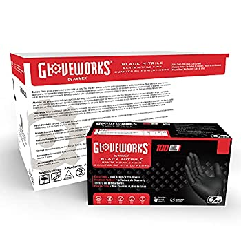 GLOVEWORKS HD Industrial Black Nitrile Diamond Texture Grip Large 1000 Disposable Gloves