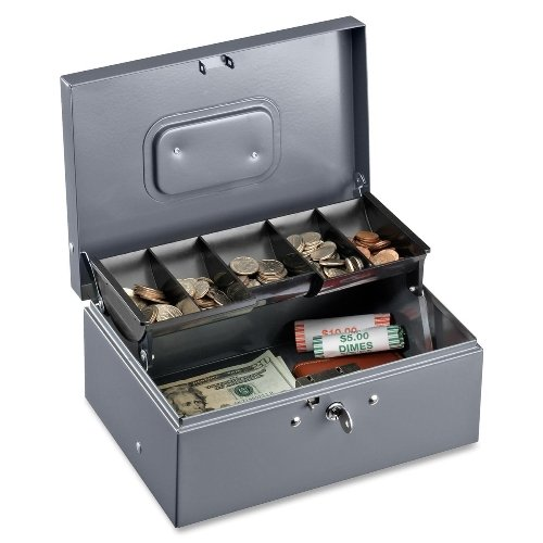 Sparco Cash Box, 5 Compartments, 11-3/8 x 7-1/2 x 3-3/8 Inches, Gray(SPR15507)