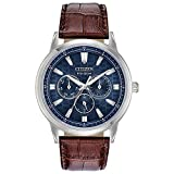 Citizen Eco-Drive Corso Quartz Mens Watch, Stainless Steel with Leather strap, Classic, Brown (Model: BU2070-12L)