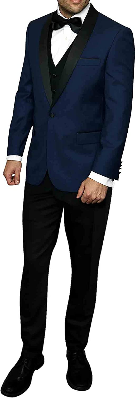 Men's 4pc Luxury Wool Tuxedo Suit Tailored Fit Indigo Jacket Vest Pants Bow Tie