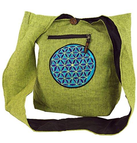 GURU SHOP Bolso de Sadhu Bordado, Bolso de Hombro Goa bag - Verde/azul, Unisex - Adultos, Algodón, Tama�o:One Size, 40x35x25 cm, Bolsas de Hombro