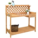 VINGLI Wooden Potting Bench Tables Work Station Table Outdoor Garden Potting Table with Sliding Drawer PVC Mat,for Garden Supplies,Natural