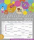 Multiplaner - Colour your time 2021: Familienplaner, 7 breite Spalten. Großer Familienkalender mit Ferienterminen, extra Spalte, Vorschau für 2022 und Datumsschieber. Format: 40x47 cm