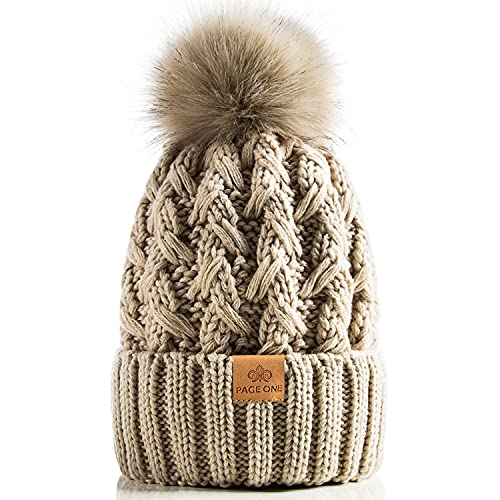 PAGE ONE Womens Winter Ribbed Beanie Crossed Cap Chunky Cable Knit Pompom Soft Warm Hat Oatmeal