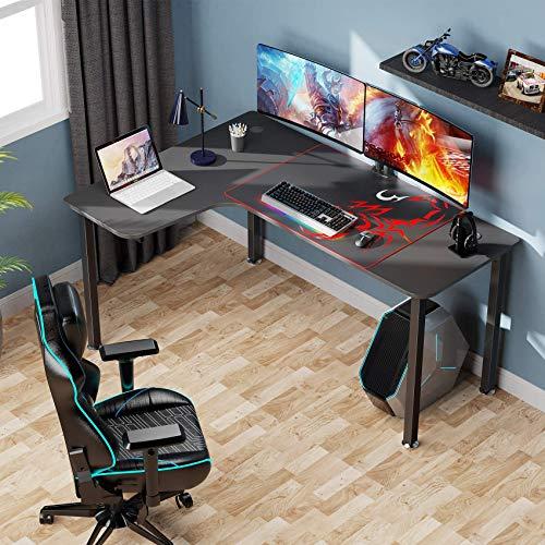 Eureka Ergonomic 61 inch L Shaped Desk, Home Office Gaming Computer Desk Corner Desk Table with Mouse Pad Easy Assembly, Left Side - Black