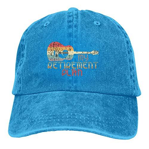 Jopath My Retirement Plan - Sombrero de mezclilla para guitarra vintage con aspecto envejecido, color azul claro, ajustable para ajuste universal