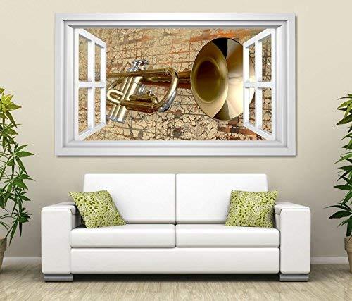 3D Wandtattoo Musik abstrakt Kunst Trompete Noten Fenster selbstklebend Wandbild Tattoo Wand Aufkleber 11M1414, Wandbild Größe F:ca. 97cmx57cm