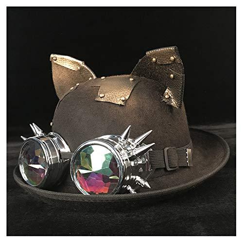 SSHZJUS Retro Lolita Mujer Hombre Unisex Steampunk Bowler Gafas Gafas Topper Sombreros Fedora Billycock Novio Sombrero (Color : Black BLY, Size : 57-58CM)
