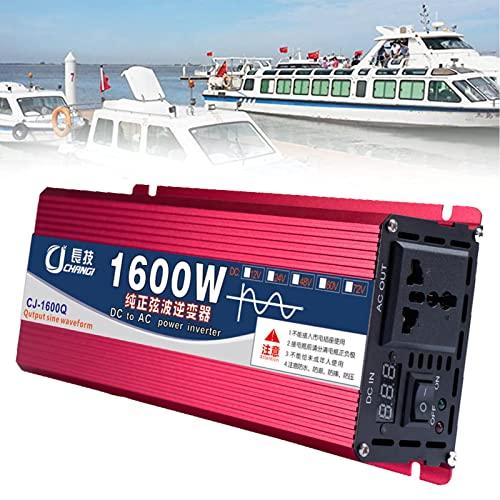 XYEJL 1600W/2200W/3000W Inversor De Corriente DC 12V/24V/48V/60V a AC 220V Onda Sinusoidal Pura Transformador Convertidor con Pantalla LCD para Coche Caravana Barco Cámping,24V-1600W