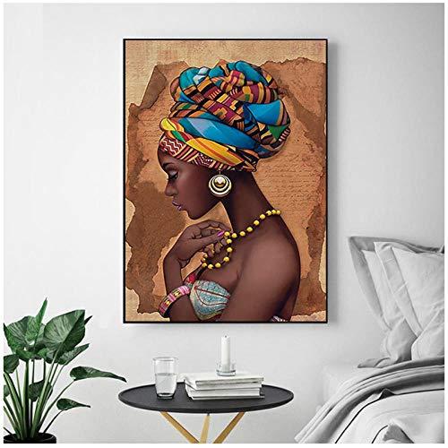 Dayanzai Lienzo De Pintura Cartel Modular Decoración Del Hogar Africano Negro Mujer Imágenes De Pared Ilustraciones Hd Estilo Nordic Impreso Para La Sala De Estar-60X80Cm-Sin Marco