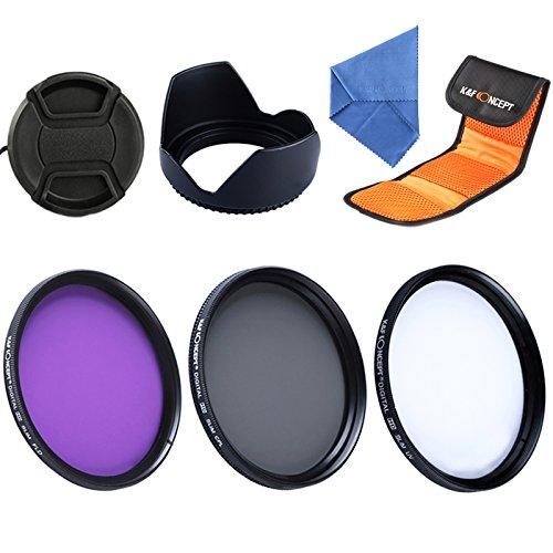 K & F Concept 58mm UV CPL FLD Lens Accessory Filter kit UV Protector Circular Polarizing Filter for Canon 600D EOS M m2700D 100D 1100D 1200D 650D DSLR + panno di pulizia in microfibra + paraluce + copriobiettivo