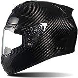ZHXH Casco de motocicleta de cara completa Casco de motocicleta unisex retro de fibra de carbono para adultos Cumple con la aprobación de punto /