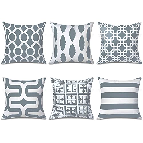 Top Finel Square Decorative Throw Pillow Cases Soft Microfiber Outdoor Cushion Covers 18 X 18 for Sofa Bedroom, Set of 6, Grey