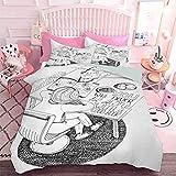 Hiiiman - Juego de ropa de cama para niñas y gatos, diseño de dibujos animados a mano con cita inspiradora (3 piezas, tamaño doble) 3D realista impresión funda de edredón