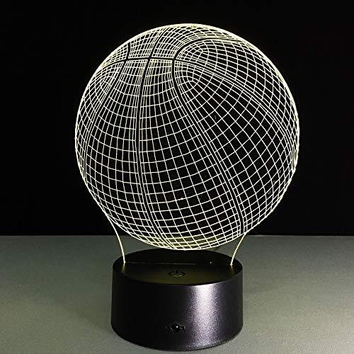 LIkaxyd 3D Led Luz De Noche Para Niños Baloncesto Led Lámpara De Mesa Luces De Noche Para Niños Decoración Tabla Lámpara De Escritorio 7 Colores Cambio De Botón Táctil Y Cable Usb