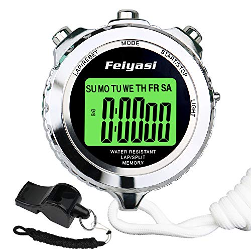Feiyasi Digital Stopwatch Timer, with Backlight Metal Stop Watch for Basketball, Soccer, Boxing, Shot, Referee,Swim, Workout, Sport, Sports Match, Training, Timing-Including Whistle (Silver-1 Laps)