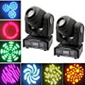LED Moving Head Light, Pack of 2, 30W RGBW Moving Stage Light Sound Activation DMX512 Controlled with 8 Patterns LED Head Moving Effect Lights for DJ Club Disco Stage Party Lighting UK Plug 220V