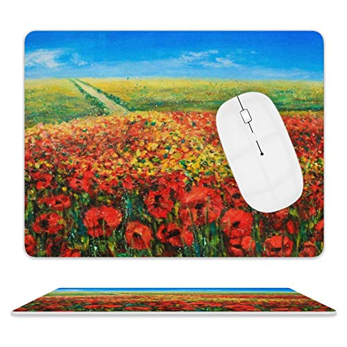 Leather Mouse Pad,Easy to Clean Mouse Mat with Stitched Edge Rubber Base Accurate Cursor Mouse Pads for Working and Gaming 8'10' (Blue Sky and Red Poppies Landscape Painting)