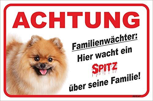 AdriLeo Schild - Vorsicht GELBER Spitz Zwergspitz Pomeranian Familienwächter (20x30cm)
